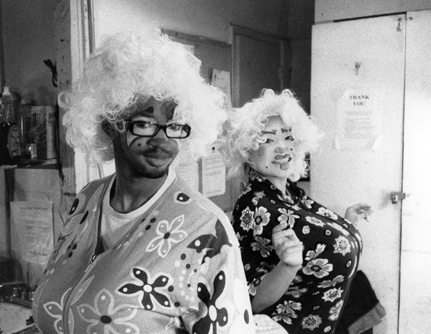 Clowns about to perform, Ilford Delta 3200 Professional at 1600, Kodak HC-110 Dil. B