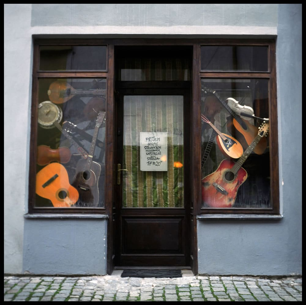"""The Music Store, Cesky Crumlov, Czech Republic"" shot with a Yashica TLR, Fuji NPH 400"