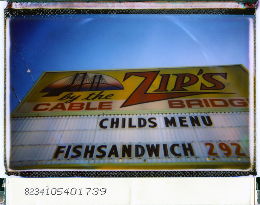 """Zip's,"" Lomo'instant wide camera, Fuji Instax film, borders scrapped"