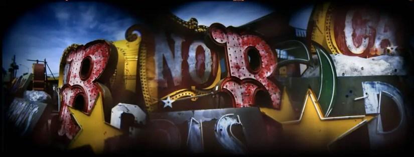 """""""Old Neon, Las Vegas"""" Holga superimposed in camera, Fuji NPH 400"""