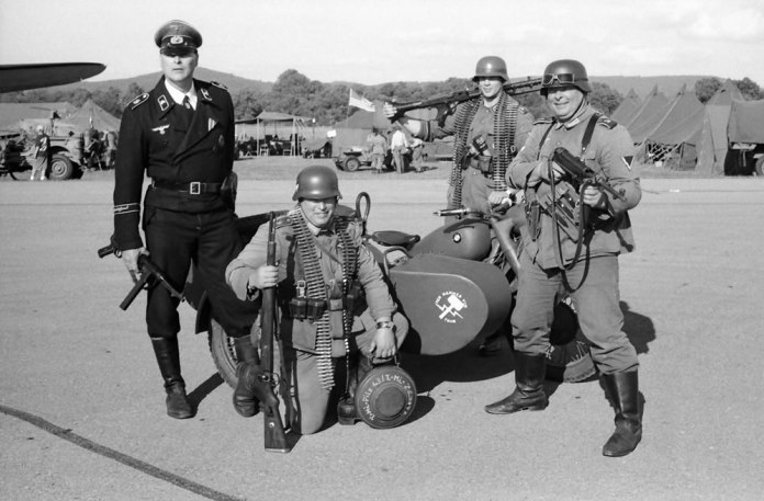 German troops with BMW motorcycle, 6/15, HP5 in HC110 Dilution H