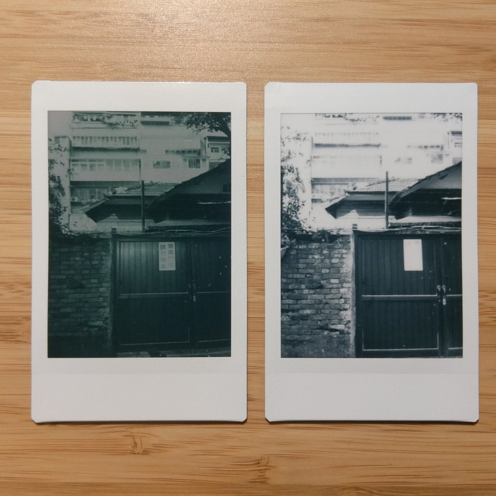 Instax Mini Monochrome - Door - Left: Orange #21 filter + L-Mode / Right: No filter