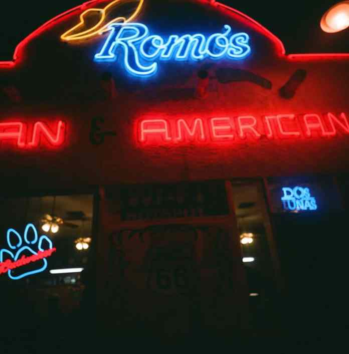 "Two night shots in Holbrook, AZ, when I intentionally went out ""hunting"" neon signs. Fuji 800 expired."