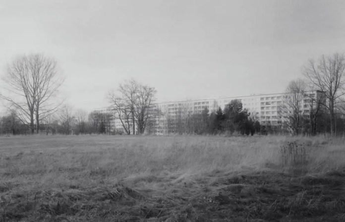 Sports ground, demolished Johannes-Kepler-Gymnasium, Chemnitz - Zorki 4K, Jupiter 12 35mm f/2.8, Kentmere 400.