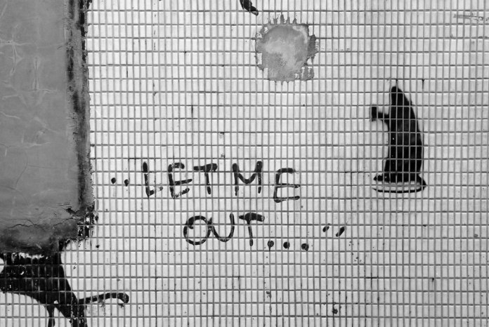 Let me out - Shot on Kodak T-MAX 100 at EI 100. 35mm Black and white film in 35mm format.