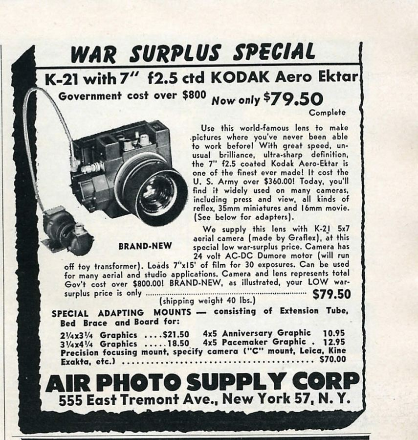Vintage advert - Kodak K-21 and Aero Ektar