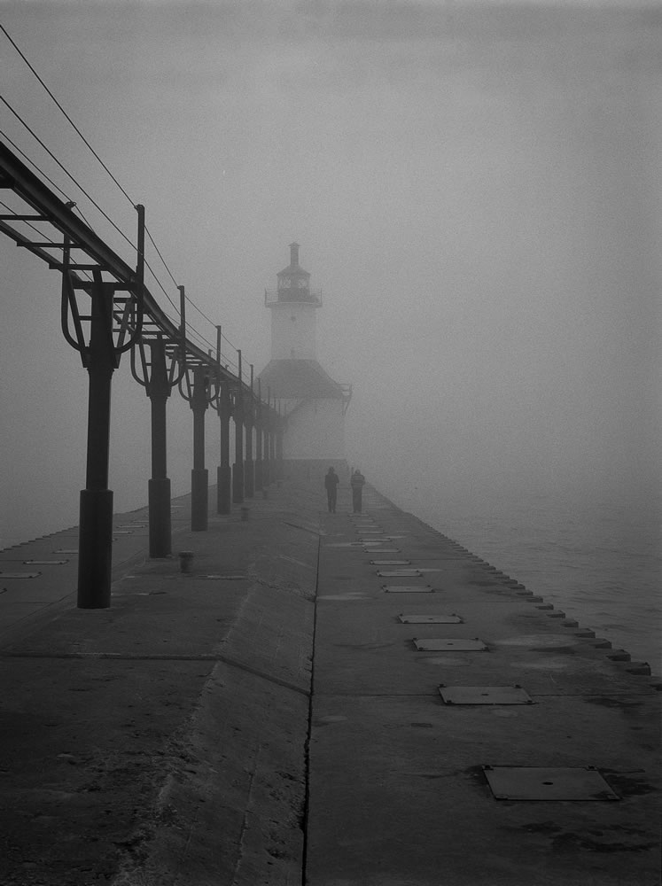 Lighthouse and fog, Mamiya 645, Kodak T-Max 400