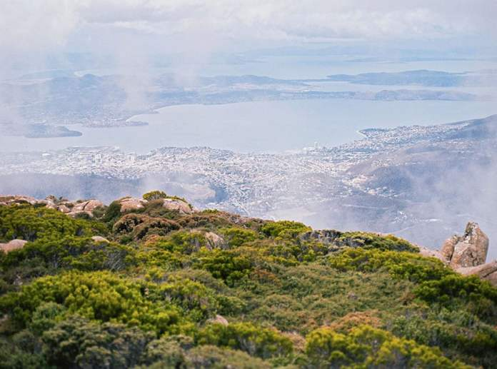 Over the ledge of Mount Wellington.