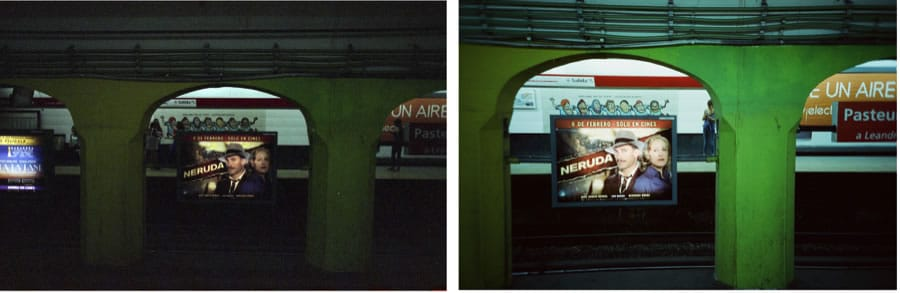 The same shot, with both cameras and films. The color of the Cinestill 800T, on the right, is clearly more vibrant, but the highlights in the sign are a tad blown. On the left, the Fuji film is darker and less vibrant, but the detail on the sign is absolutely perfect, nothing blown.