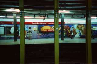 """Cinestill 800T shot with a LCA+ in a """"B line"""" station in Buenos Aires, Argentina."""