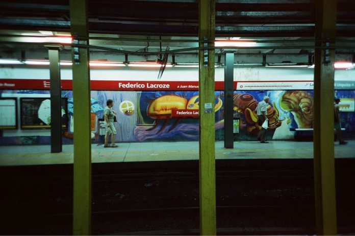 "Cinestill 800T shot with a LCA+ in a ""B line"" station in Buenos Aires, Argentina."