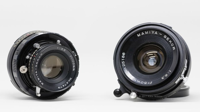 Mamiya Sekor 100mm f/3.5 (updated model) and 50mm f/6.3 lenses