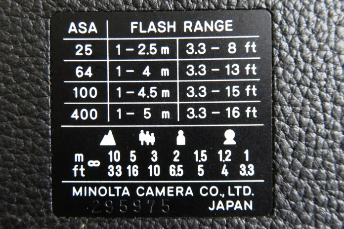 Minolta Hi-Matic - The back of the camera has the guidelines for the flash range given the ISO/film speed, and focusing distances