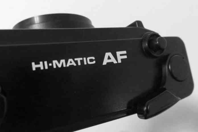 Minolta Hi-Matic - The top of the camera showing the Hi-Matic AF version, release shutter and film advance lever