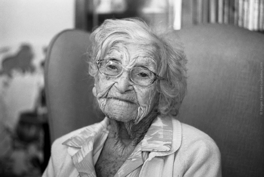 Mrs Edith Williams on her 105th birthday Taken - Contax G1, 90mm/2.8 on Ilford XP2 Super