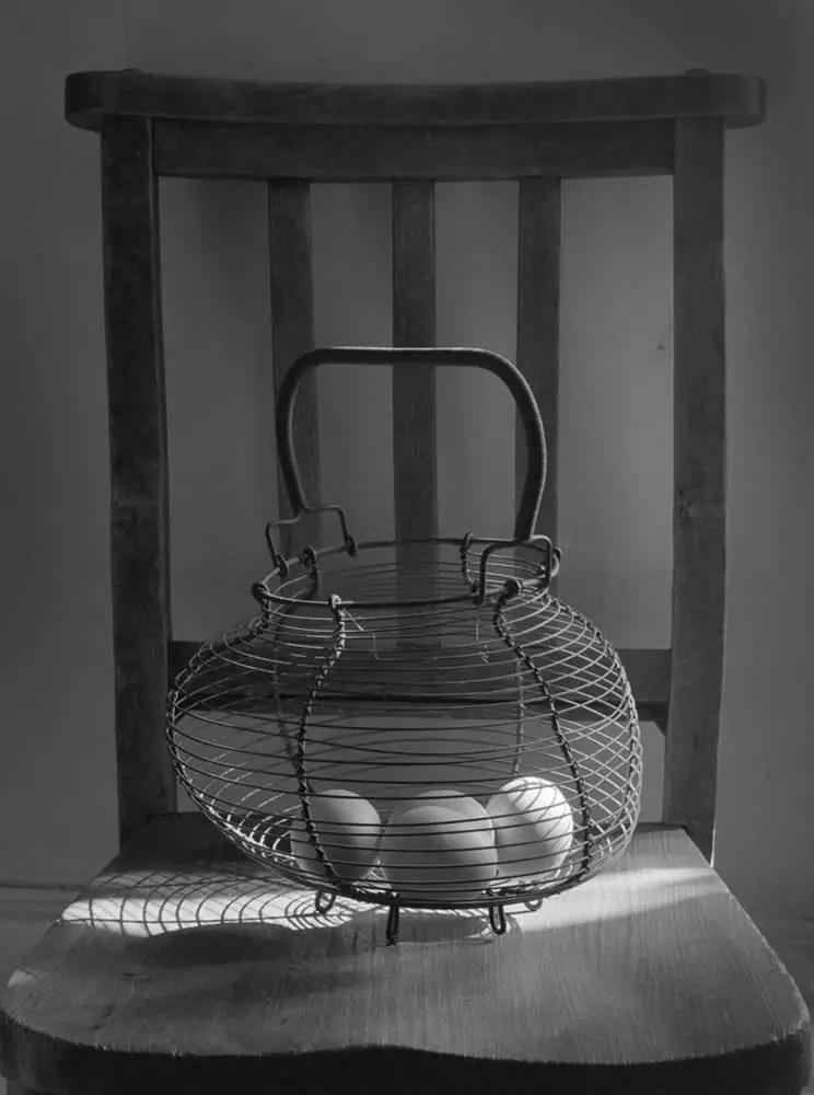 Nagaoka Seisakusho 4x5 - Egg basket on chair