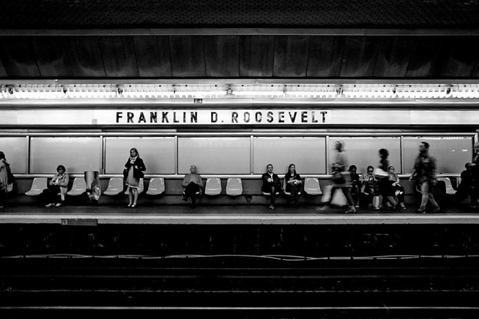 Paris Subway, NikonF2, ILFORD XP2 Super - It's instinctive to take an obligatory shot of people waiting in the subway. But I particularly love how this shot came out.