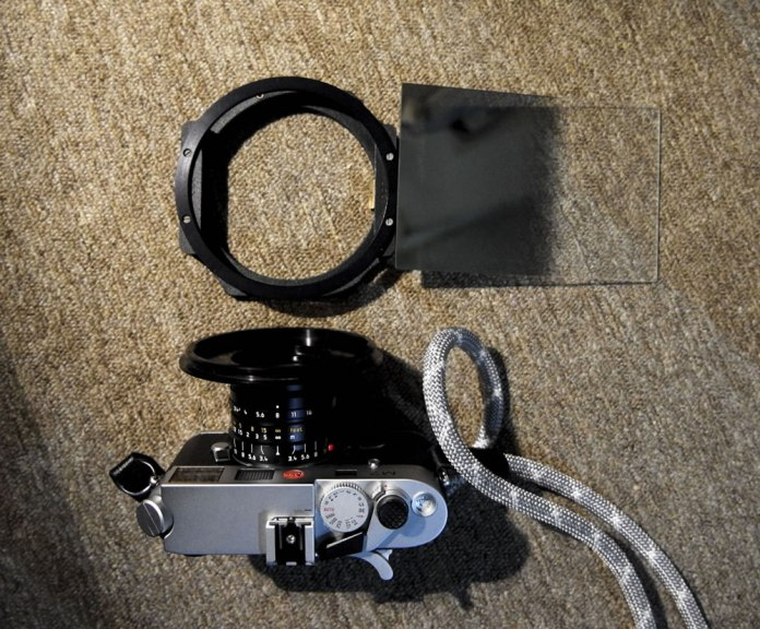 Leica M7 and Leica Super-Elmar-M 21mm f/3.4 ASPH lens with my rectangular GND filter and holder assembly.
