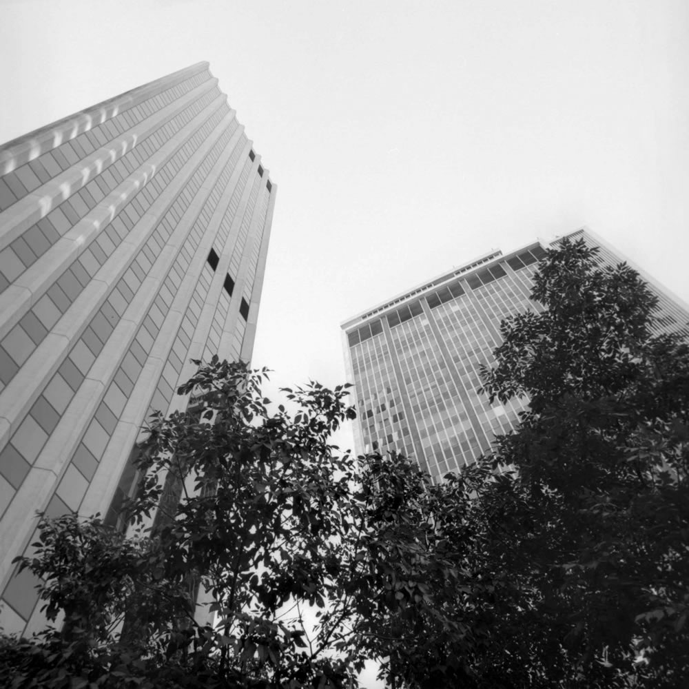 Tuesday, September 11, 2007 6:46 AM Mountain Time - Sky Scrapers, Denver Colorado - Kodak T-Max 100 Film - Hasselblad Camera - 80 mm lens - 1/2 Second Exposure at f/11