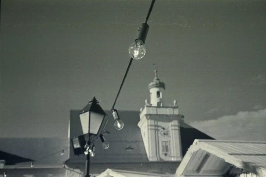 Christmas lights in Tvrdja, Osijek - Olympus Trip 35 + Fujicolor C200 (cross-processed in Rodinal)