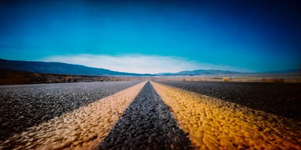 Death Valley Approach #03 - Shot on Kodak EKTACHROME 100GP (E100GP) at EI 100. Color reversal (slide) film in 120 format shot as 6×12. Cross processed.