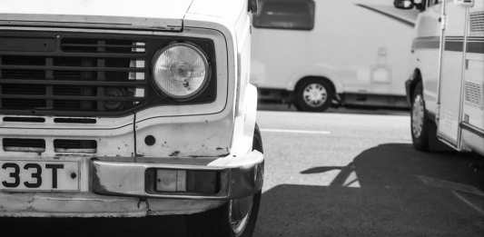 Leyland Sherpa Camper Van -ILFORD PAN F 50. Expired 2009, Shot and Developed July 2017, Olympus OM10, 50mm.