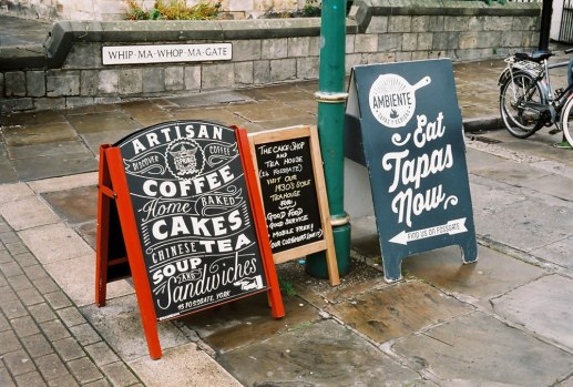 Two 'A' Boards on WHIP-MA-WHOP-MA-GATE, York - Lomography Colour 400, Olympus Trip