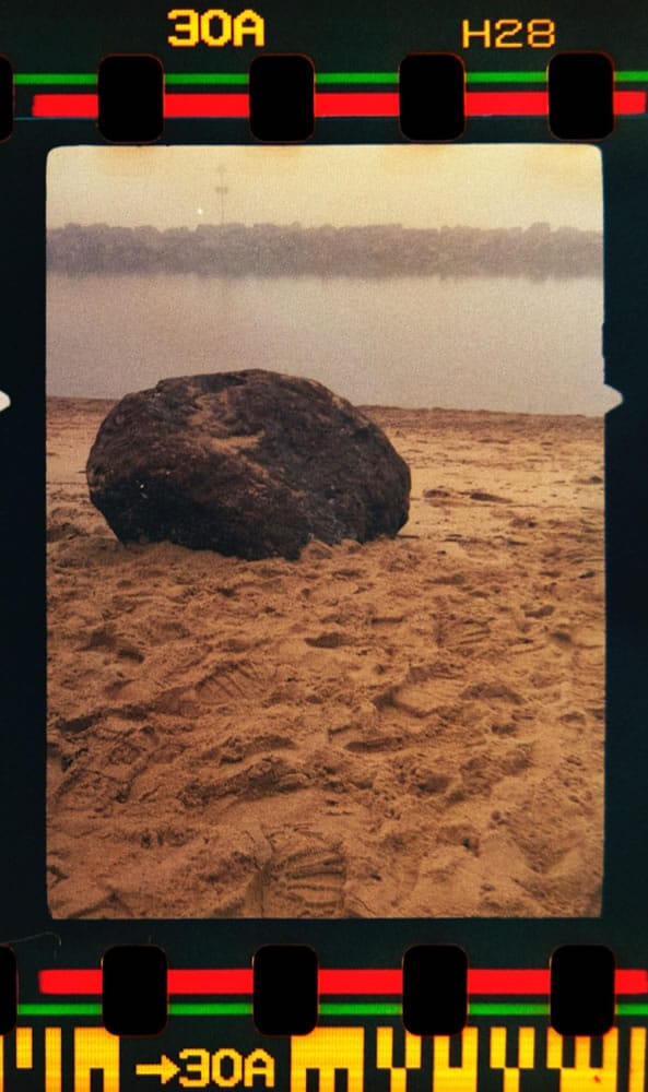 Boulder On Beach, Southend-On-Sea. Date unrecorded Agfa Paramat half frame camera Fuji 400 35mm automatic settings.