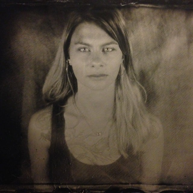 Woman with Tattoo, Manchester, 2016. Shot on original handmade wooden large format camera c.1900. Collodion Ambrotype.