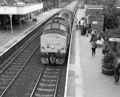 Train arriving at Acle, Norfolk - ILFORD Delta 400 Professional, ILFORD ID-11, 1+1, 14mins, 68°F