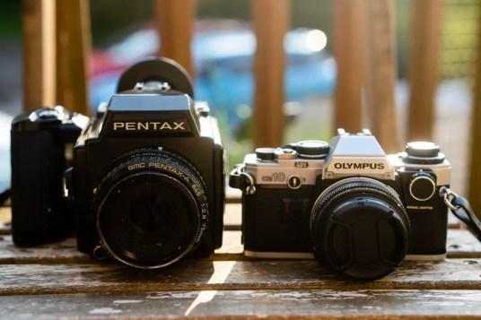 Pentax 645 + Olympus OM10