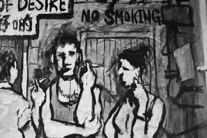 No smoking - Shot on Fuji NEOPAN 400 at EI 400. Black and white negative film in 35mm format. Over processed one stop.