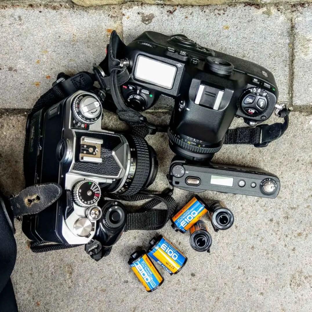 Nikon FM3A, Nikon F100 and Ricoh GR1s ready for business.