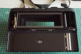 Fuji Panorama GX617 Camera Review - Rear, film door open