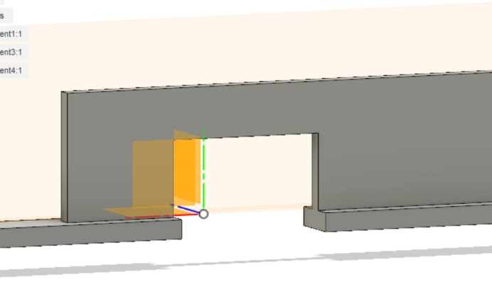 Close up of the internal pressure plate bars. The extrusion helps secure the plate's springs when the film door is closed (Fusion 360)