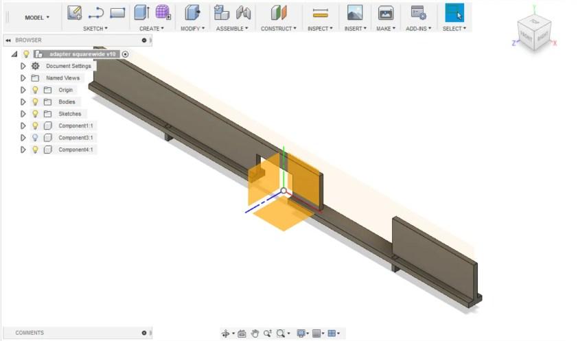 Design of the internal pressure plate bars (Fusion 360)