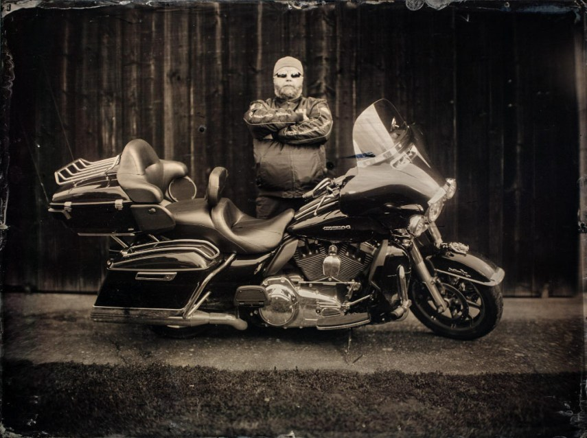 Harley Davidson man Leo, shot during a TV interview - 30x40cm collodion wetplate.