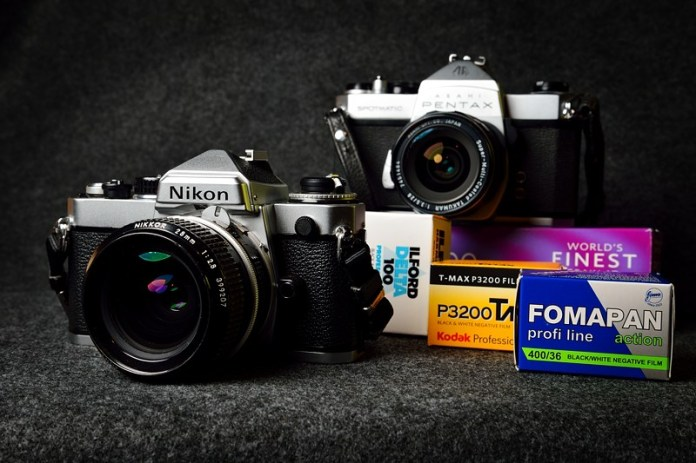 Nikon FE and Pentax Spotmatic cameras with various 35mm films