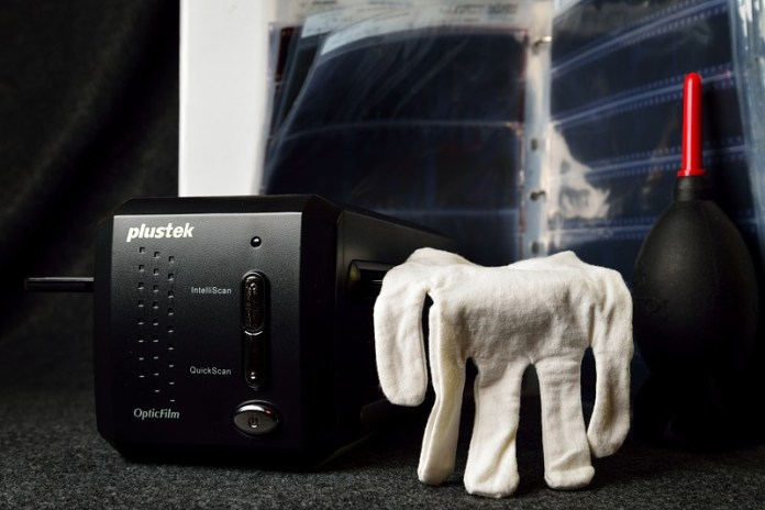 Plustek Optic Film scanner and film archival glove