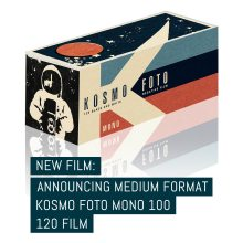 Cover: New film- announcing medium format Kosmo Foto Mono 100 120 format film