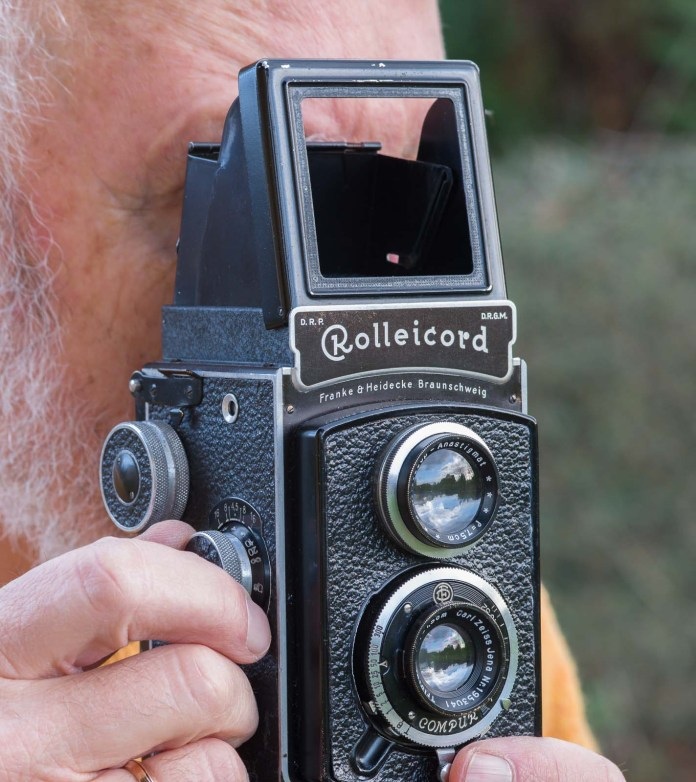 Rolleicord being used as a rangefinder camera
