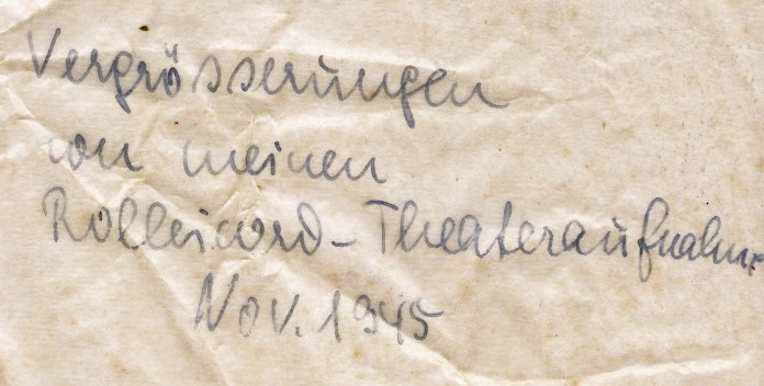 Envelope Enlargements of my Rolleicord-Theatre Photographs, November 1945