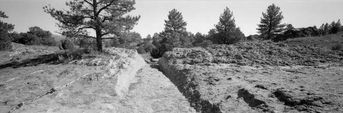 Oregon Trail Ruts - DaYi 6x17 Back, ILFORD Pan F film and orange filter.
