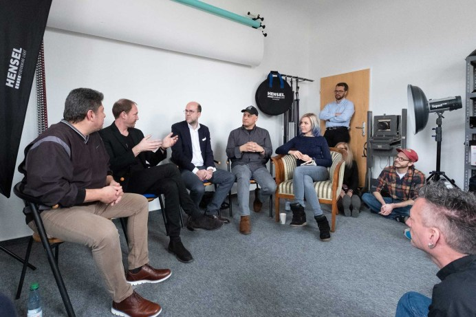 "From right to left: Lina Bessonova and Marwan El-Mozayen interview Peter Rasenberger of ""New"" Tetenal, Mirko Böddecker of ADOX and Karl Hudson of Hudson Grafik (supporting Heidelberg scanners)."