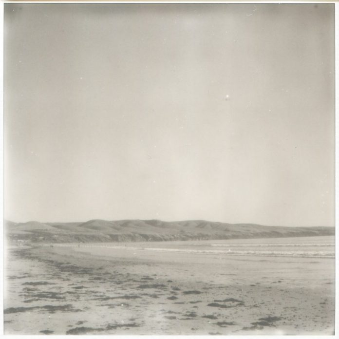 """""""On the beach"""" 2018. Untouched scan of Impossible SX70 B+W"""