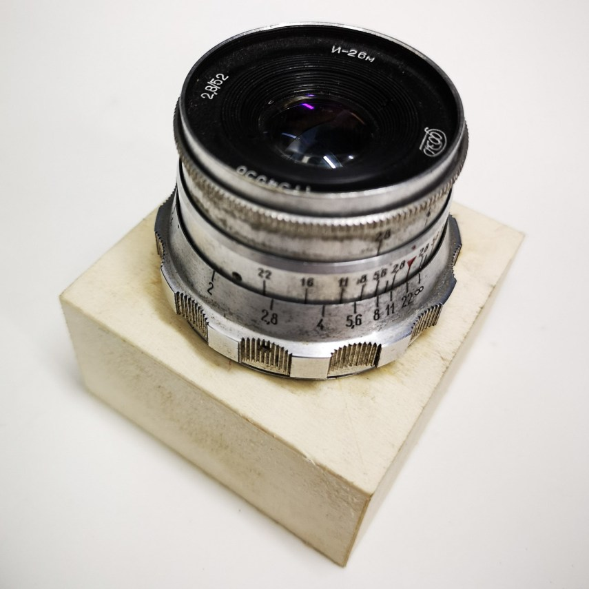 FED Industar 52mm f2.8 mounted to unpainted enlarger focusing unit