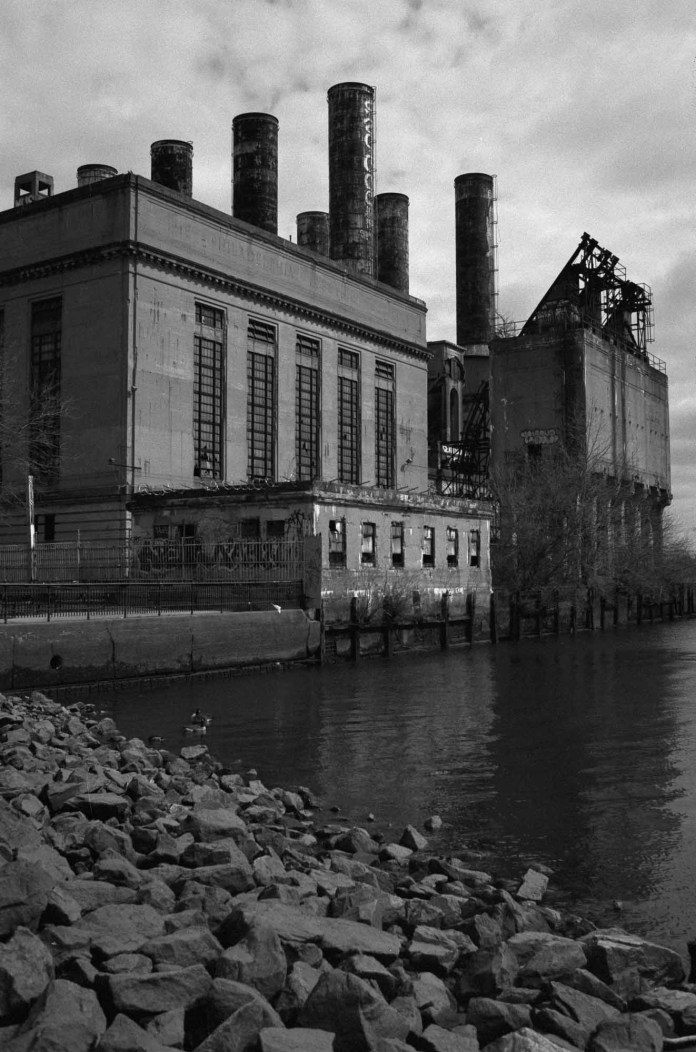 PECO Plant, Nikon F2AS, 35mm f/1.4 AI, Ilford Pan F+