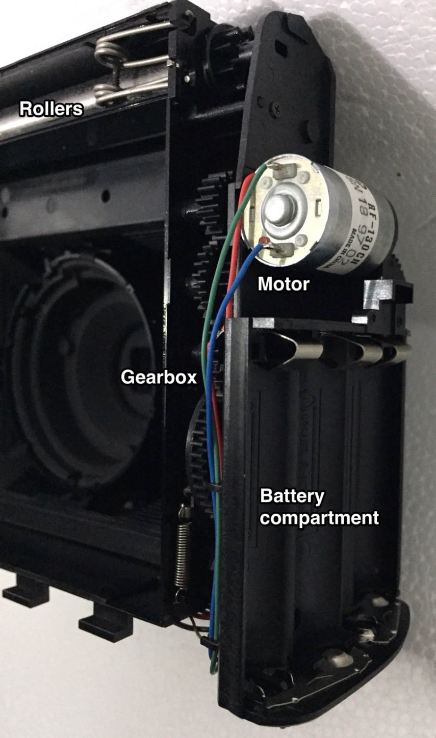 Instax Wide 100 motor gearbox battery compartment