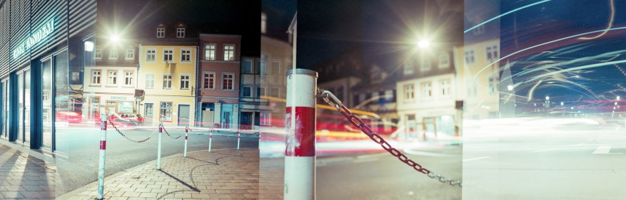 Accidental Panorama: Overlapping frames on a cold winter evening | Kodak VPL II expired in 1987 @ ISO 25 | Flektogon 50