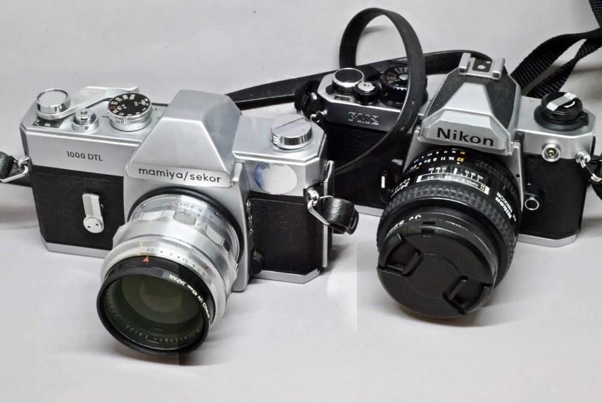 Mamiya-Sekor 1000DTL (left) and Nikon FM2